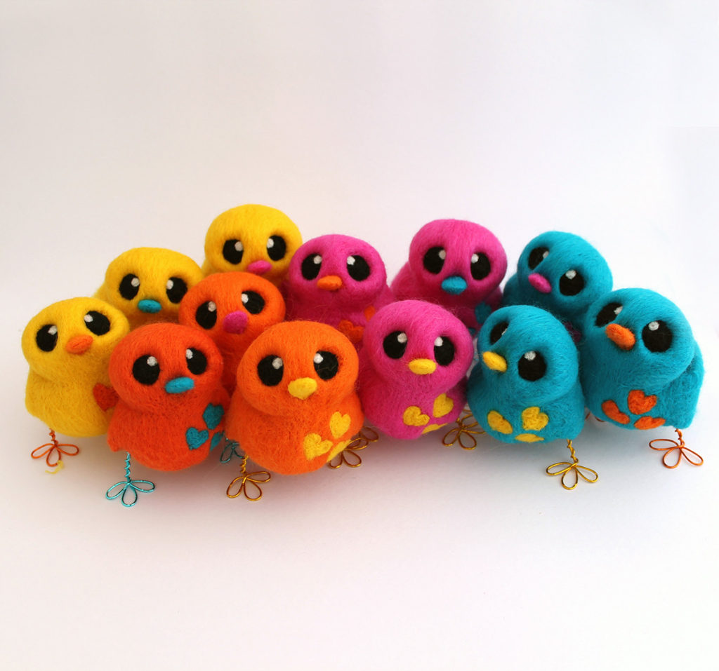 Needle Felted Love Birds by FeltMeUpDesigns