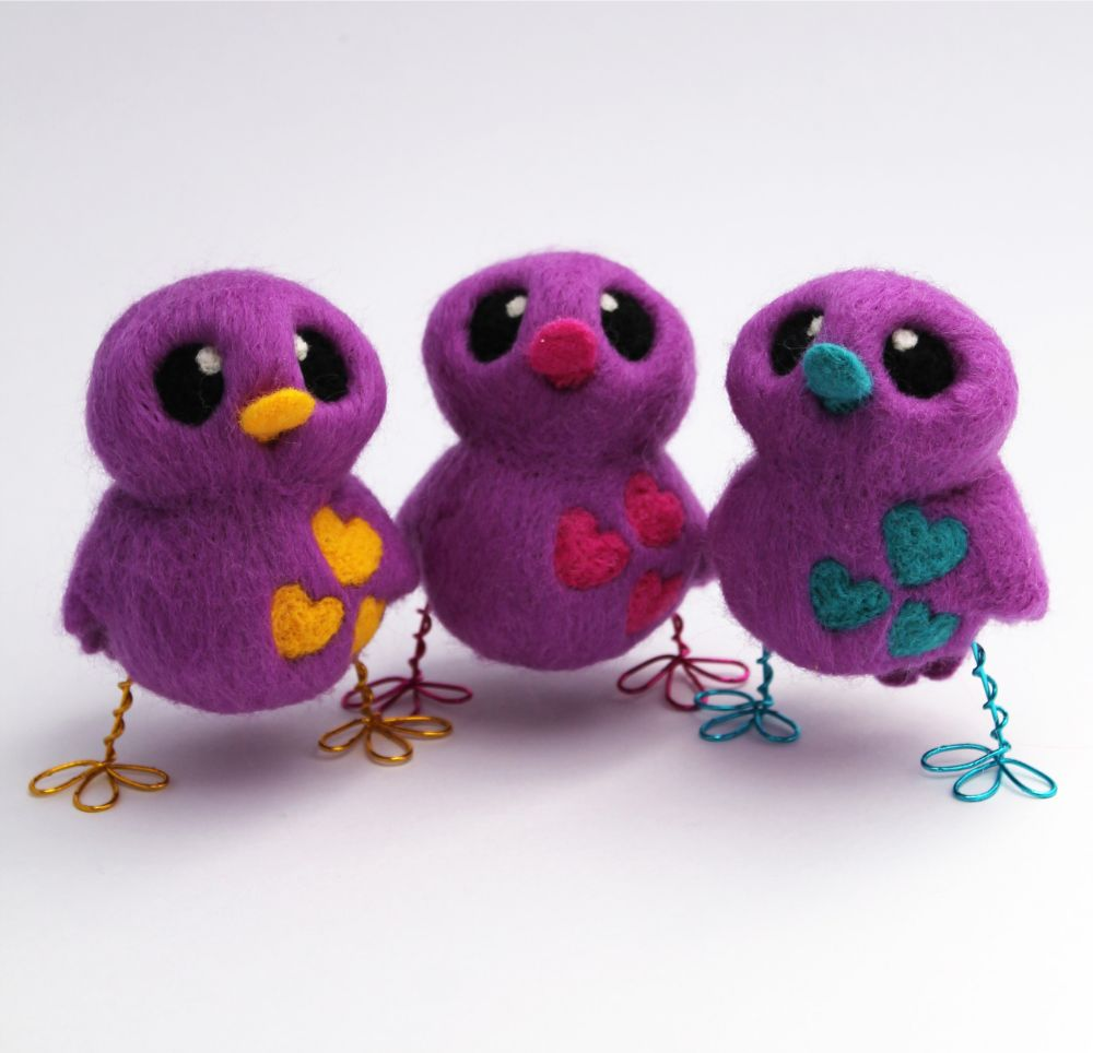 Needle Felted birds with love heart detail by Felt Me Up Designs