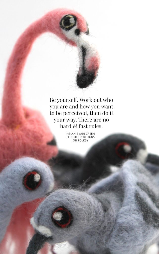 Inspirational quote and felted flamingo by Felt Me Up Designs
