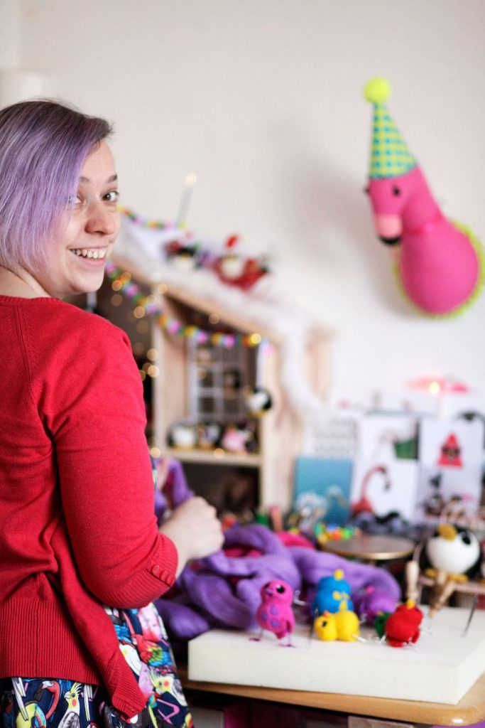 Melanie Ann Green from Felt Me Up Designs in her studio