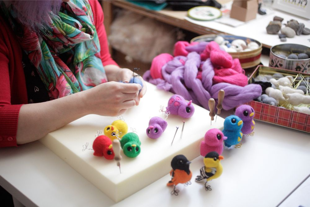 Melanie from Felt Me Up Designs making needle-felted birds