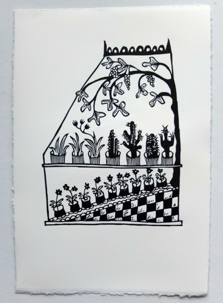 Hothouse lino print by by Melanie Wickham