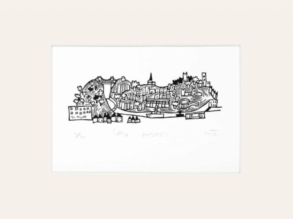 Bristol lino print by by Melanie Wickham