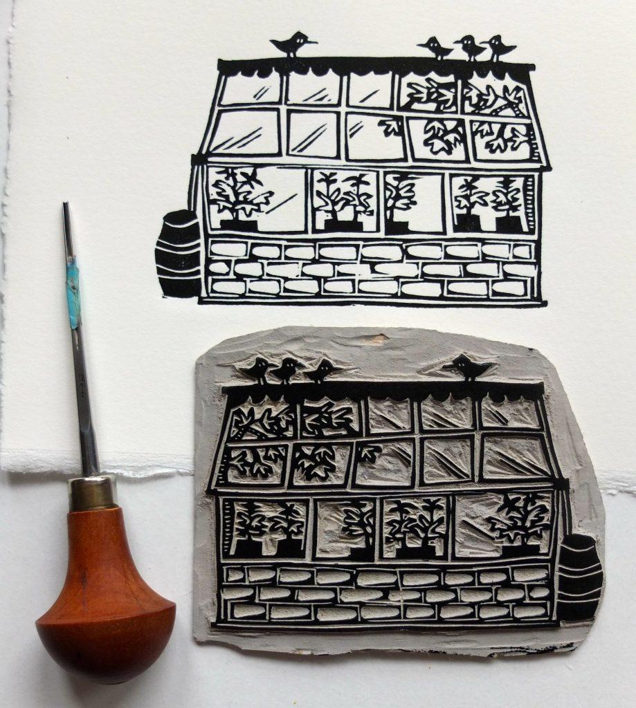 Lino print carving of a greenhouse by Melanie Wickham