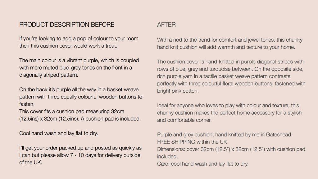 product description for a cushion