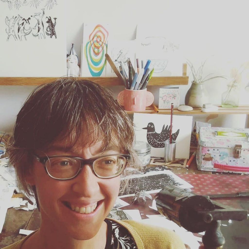 printmaker Melanie Wickham in her Bristol studio