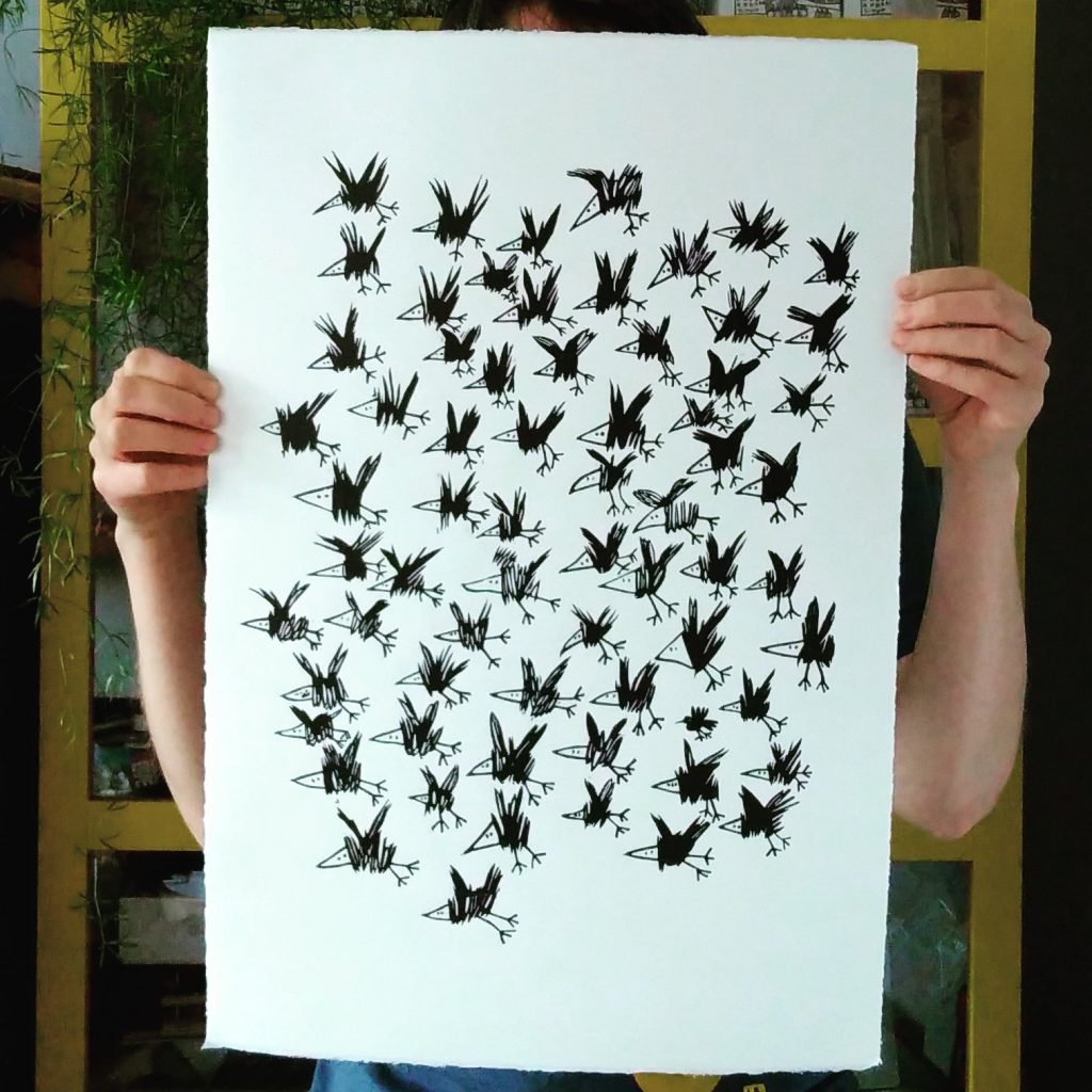 Flock of birds linoprint by Melanie Wickham