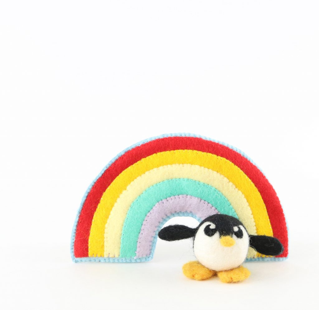 Penguin and Rainbow by Felt Me Up Designs