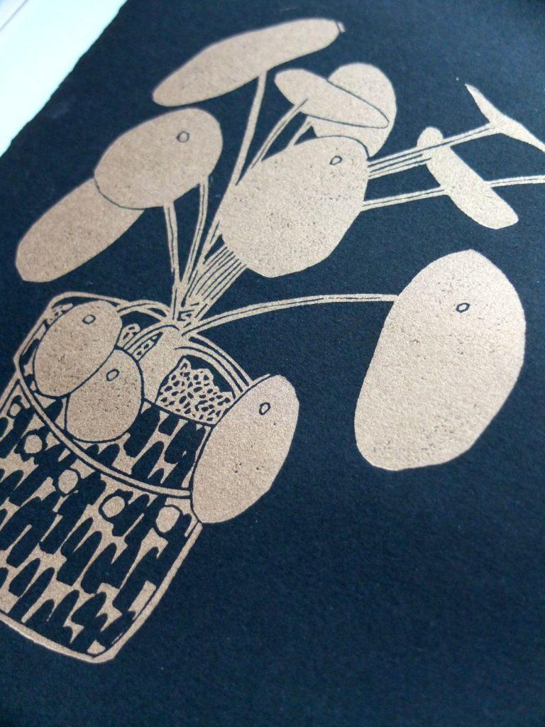 Pilea lino print by by Melanie Wickham