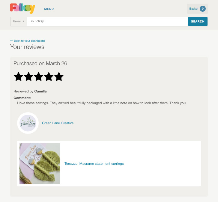 New Reviews page on Folksy