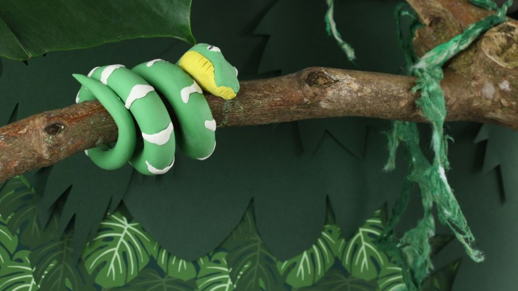 Handmade Snake and Monstera Plant in Jungle