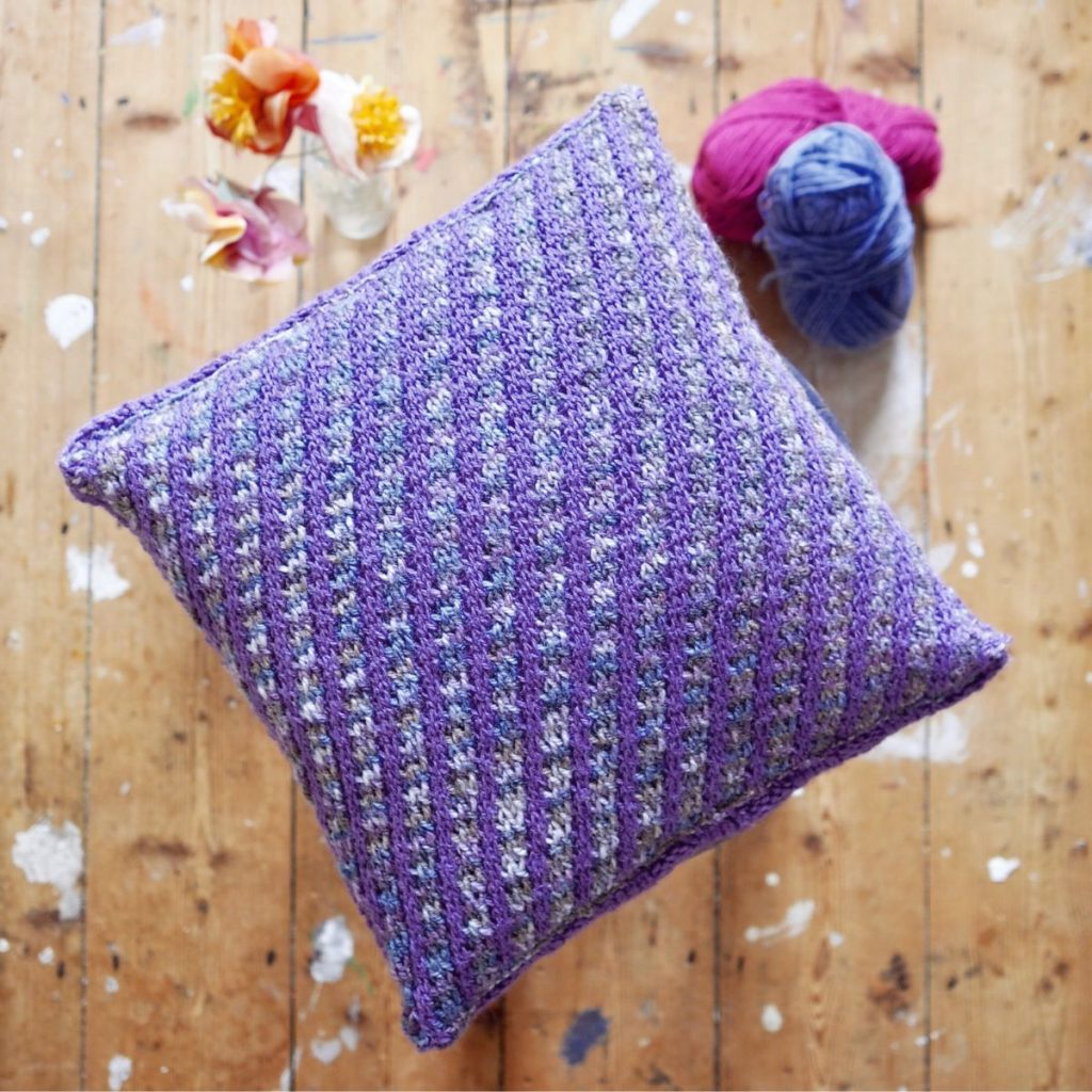 Purple and Grey Hand Knit cushion