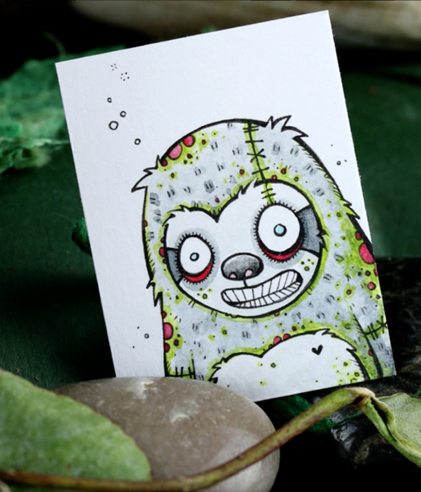 Zombie Sloth drawing by Little Black Heart