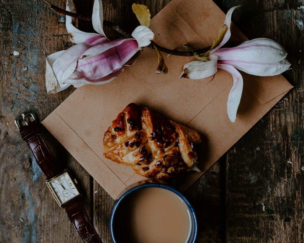 danish pastry and magnolia flower