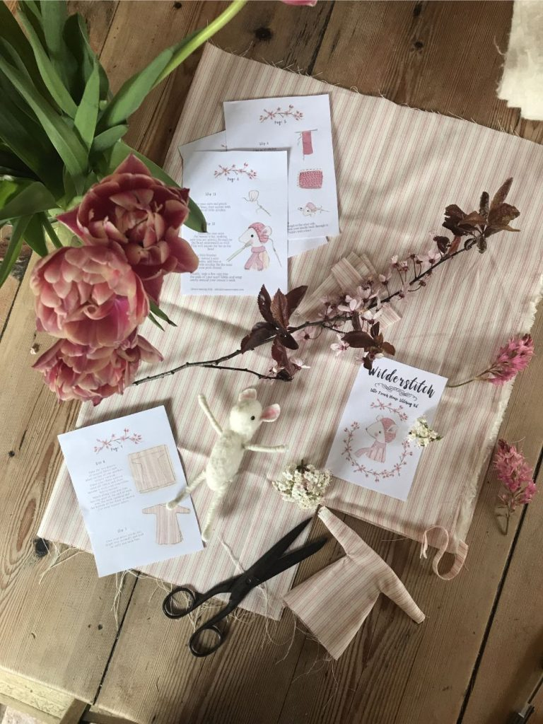 Heirloom mouse doll stitching kit by Wilderstitch