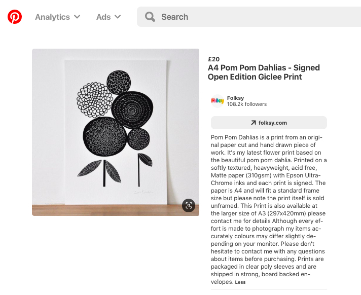 Pinterest product title example using Pom Pom Dahlia Print by Dee Beale