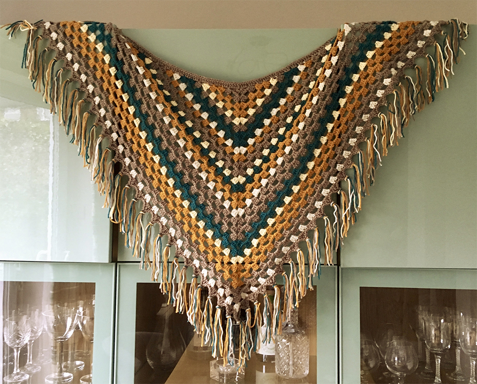 crochet shawl with tassels