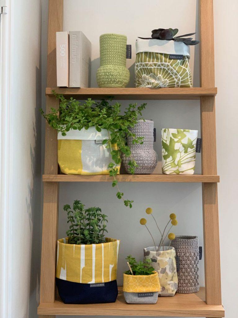 ladder shelf with homeware by Sakarma Handmade