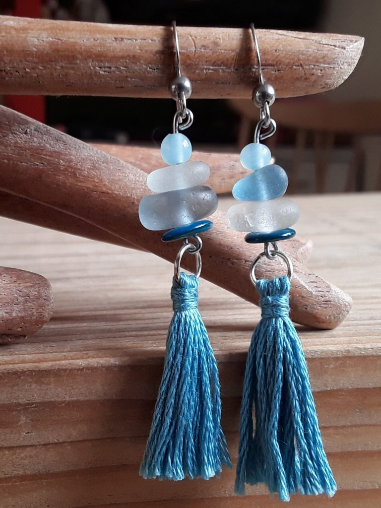 sea glass and tassel earrings in blue