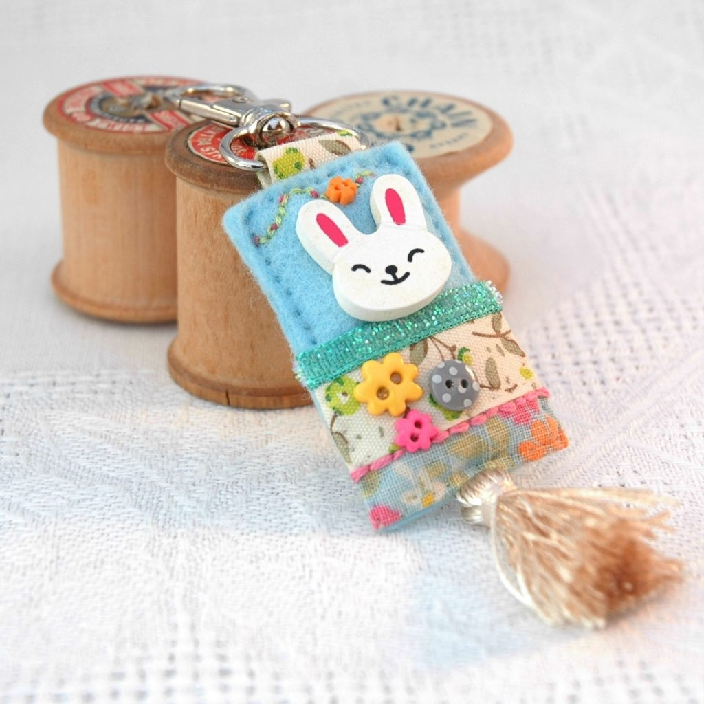 bunny bag charm with tassel