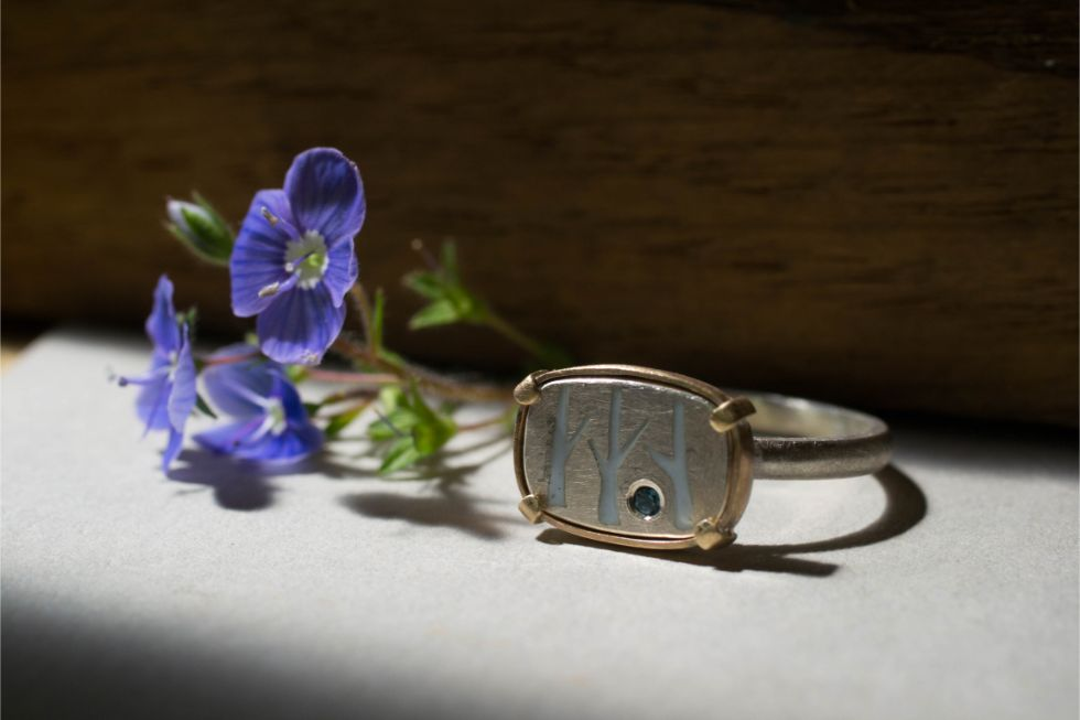 Elby Brown Jewellery silver birch ring with topaz