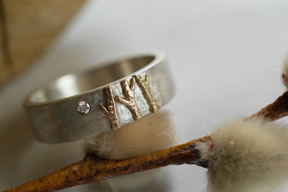 Silver Birch Tree ring with diamond by Elby Brown Jewellery