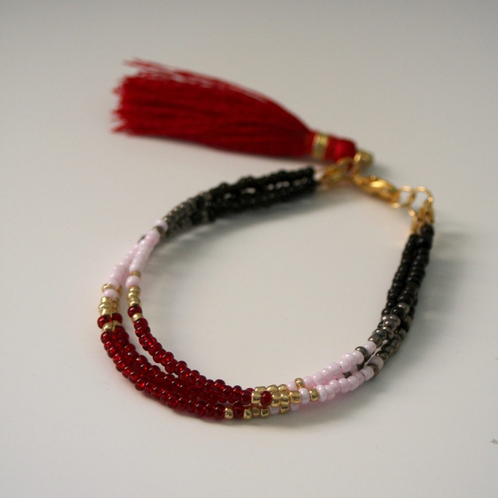 beaded bracelet with tassels