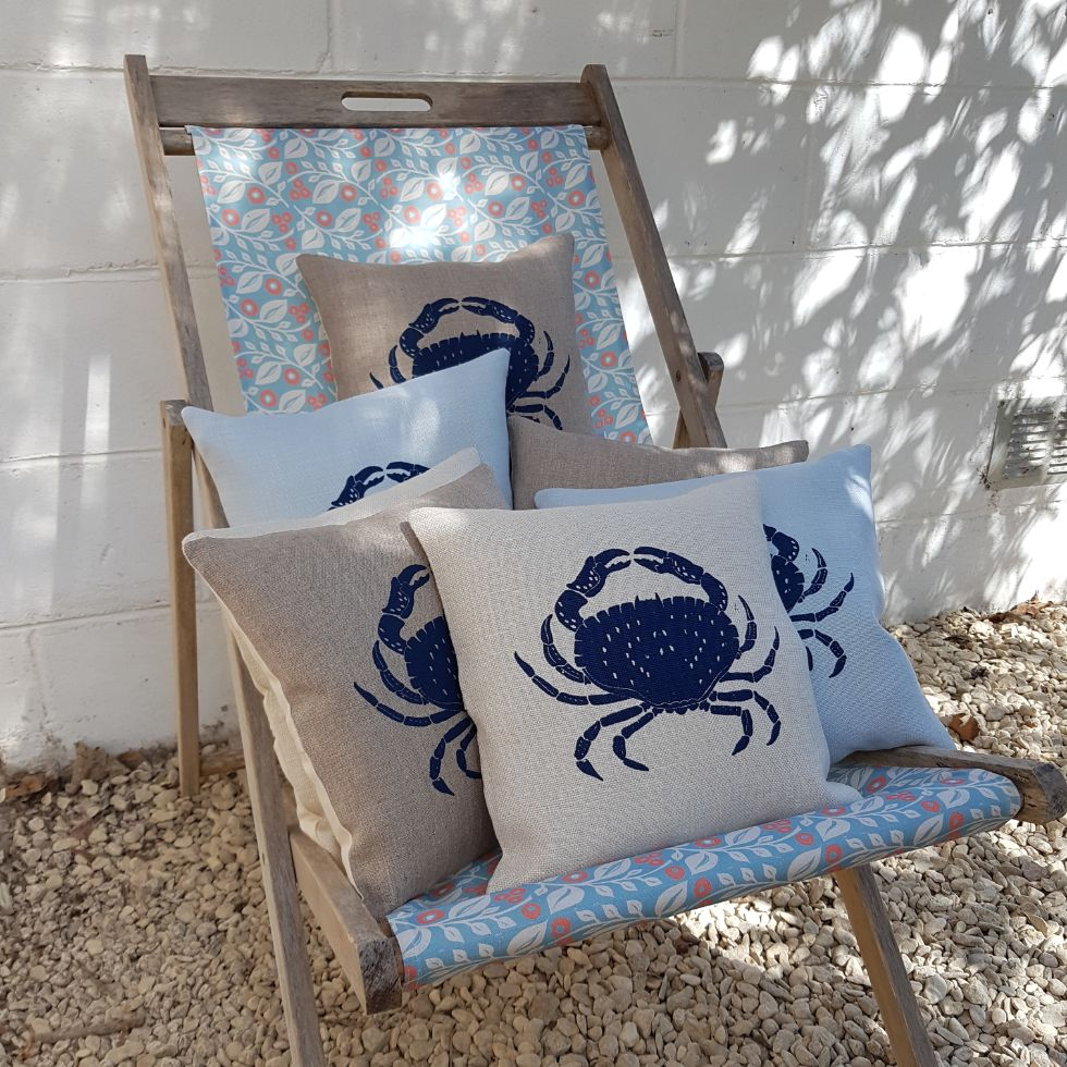 crab cushions made in the Cotswolds by My Blue Shed