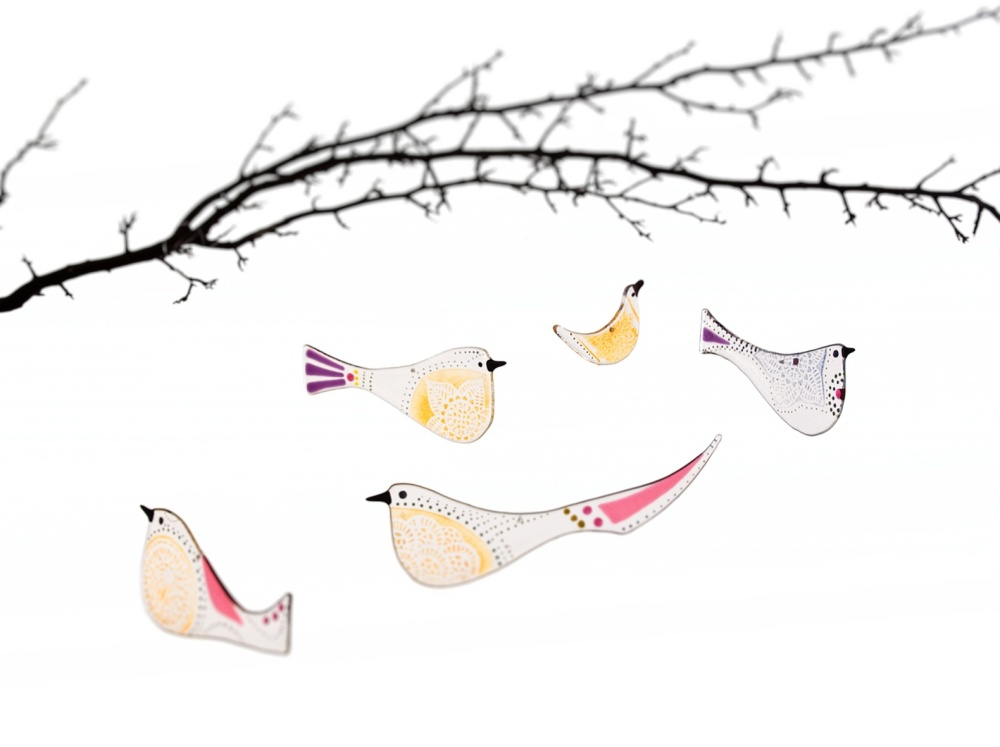 Robyn Coetzee fused glass birds