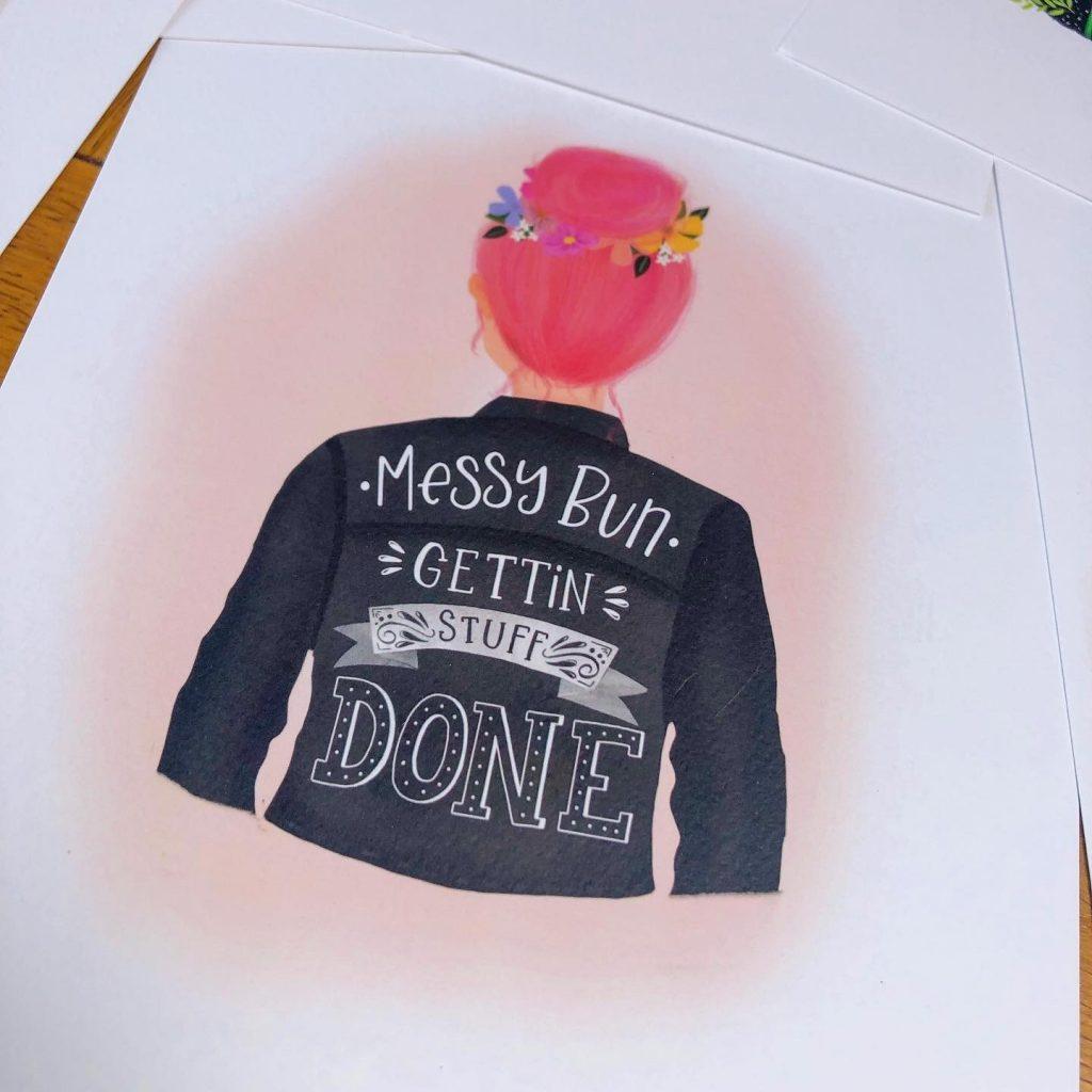 Messy Bun print by The Little Posy Print Co
