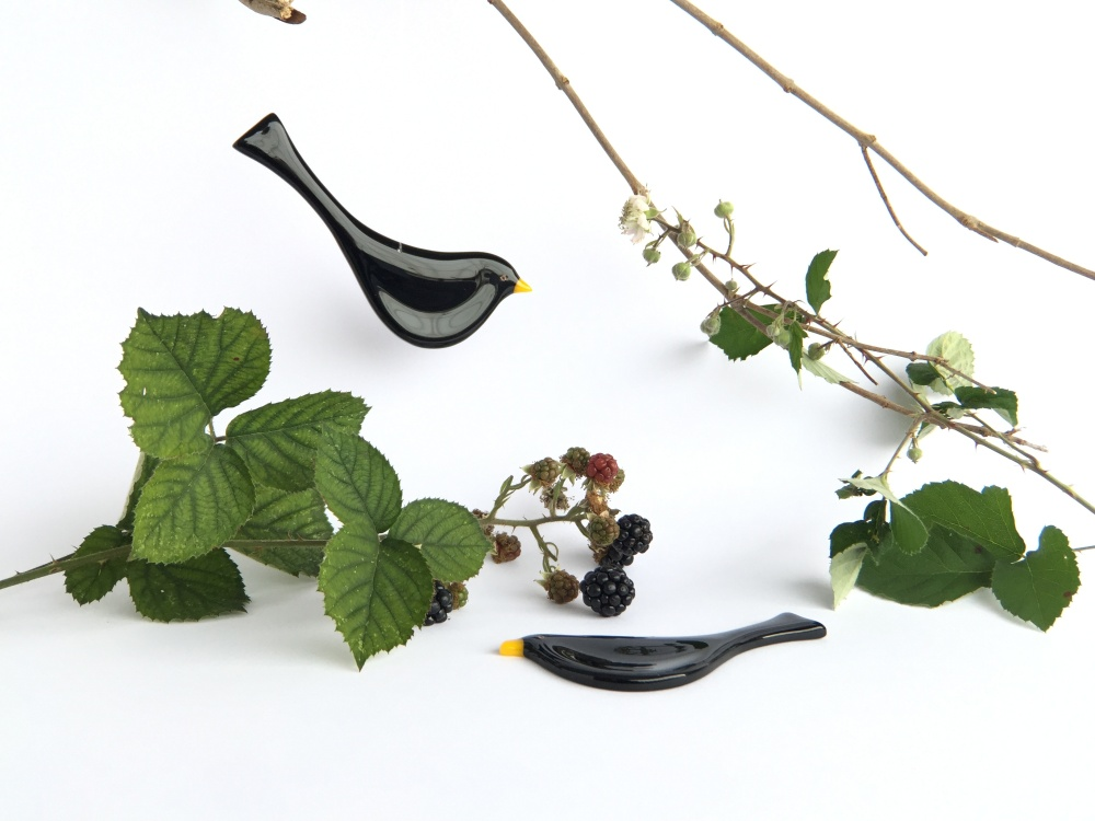 Robyn Coetzee fused glass blackbirds
