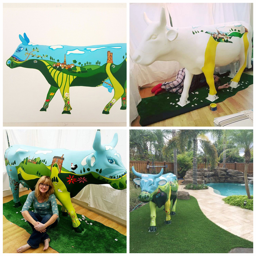 Susie West painted cow sculpture