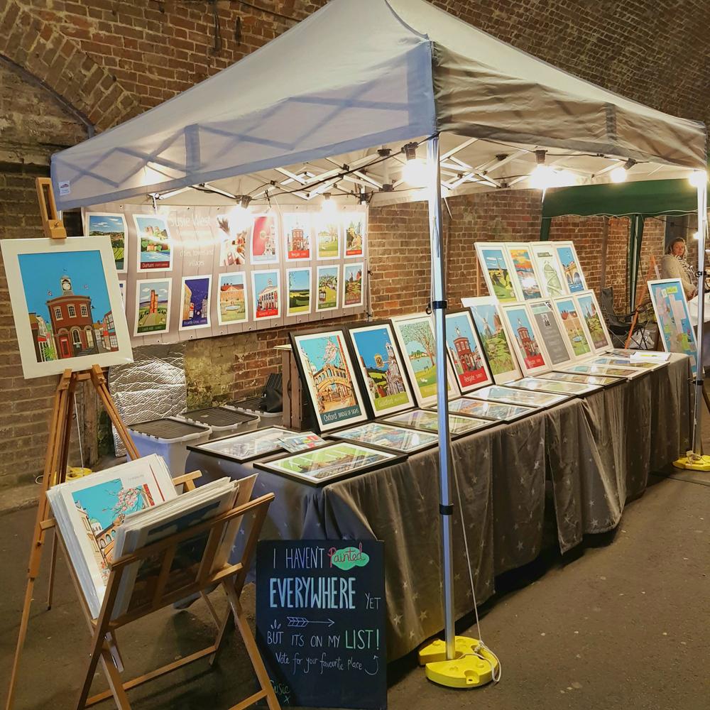 Artist Susie West's stall at Reigate Tunnel Market