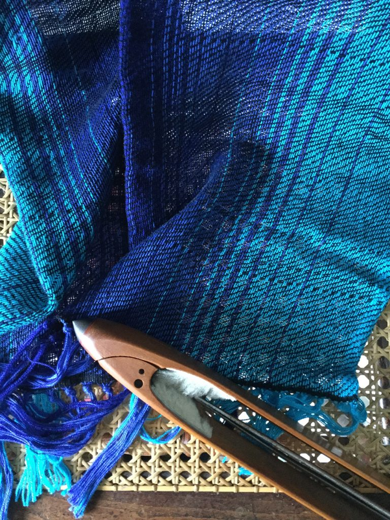 craft and wellbeing - hand woven blue scarf