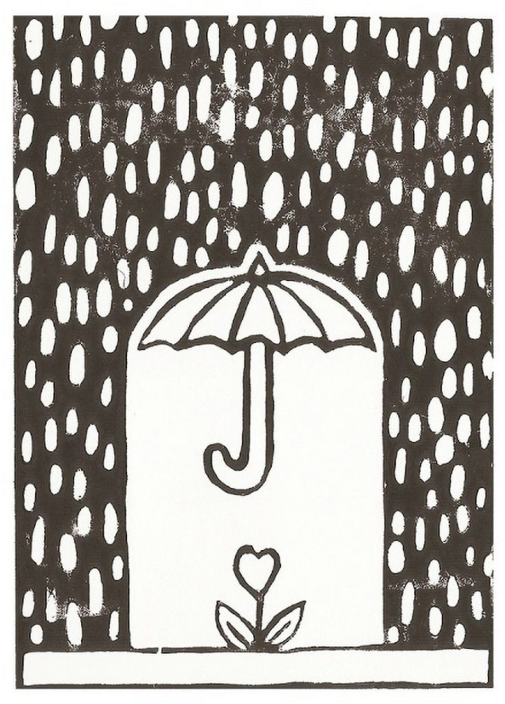 craft as therapy - heart flower under umbrella lino print