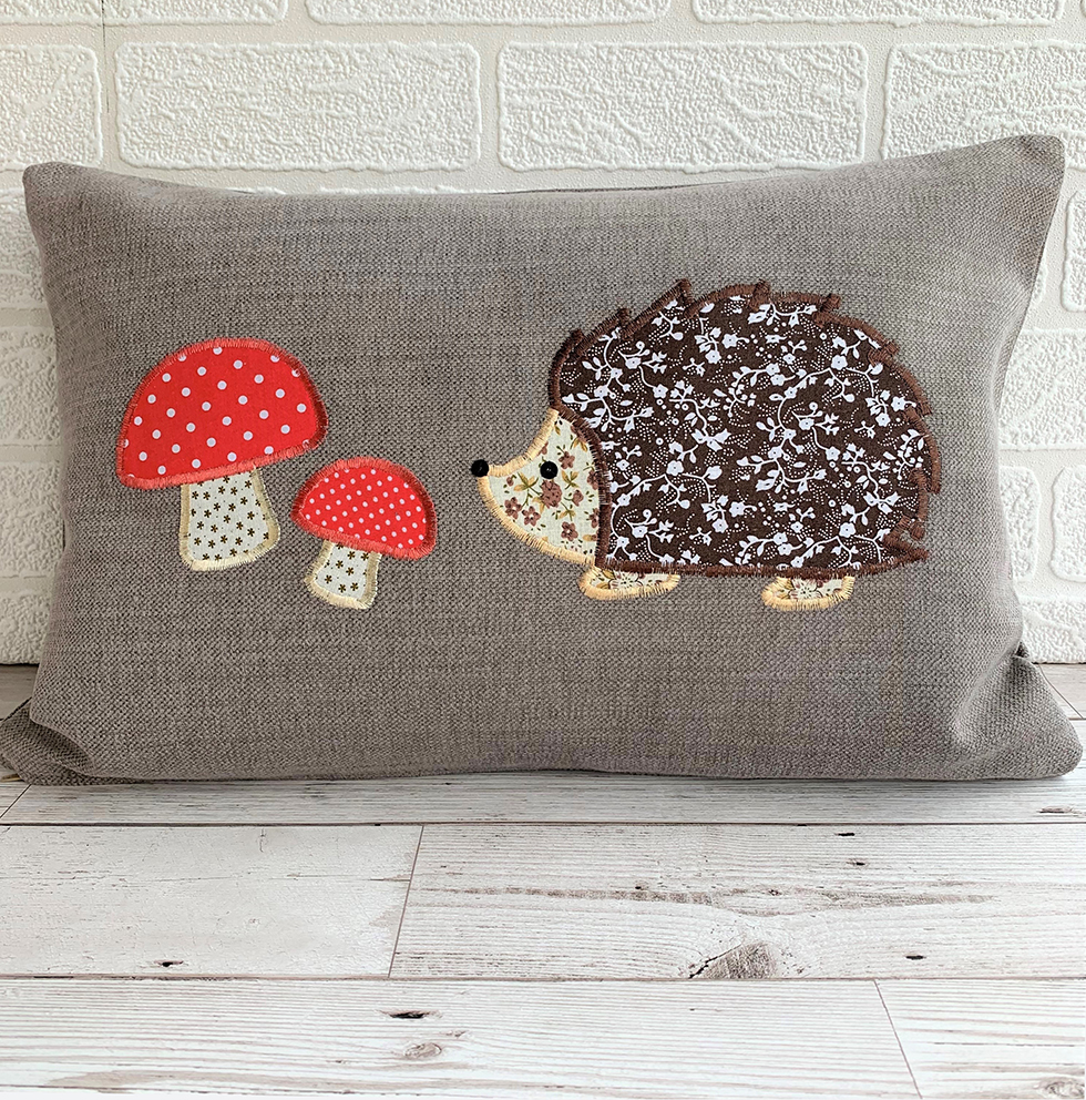Craft as Therapy - Hedgehog cushion with toadstools