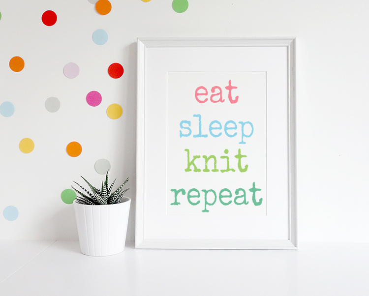 craft as therapy - eat sleep knit repeat print