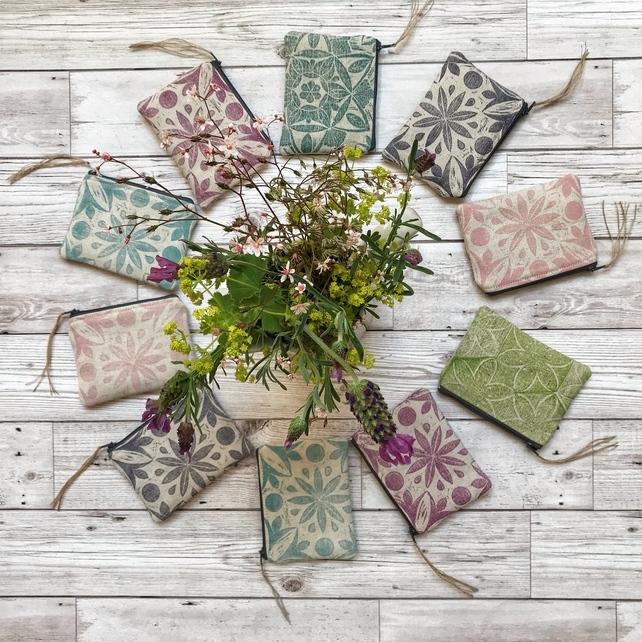 Botanical Print Linen Purses