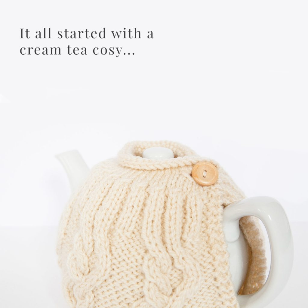 Cream tea cosy hand knitted by maya croft