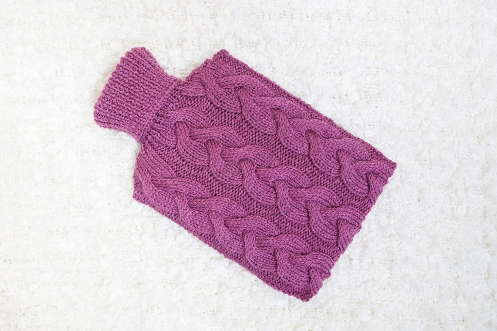 hand knitted berry hot water bottle cover maya croft