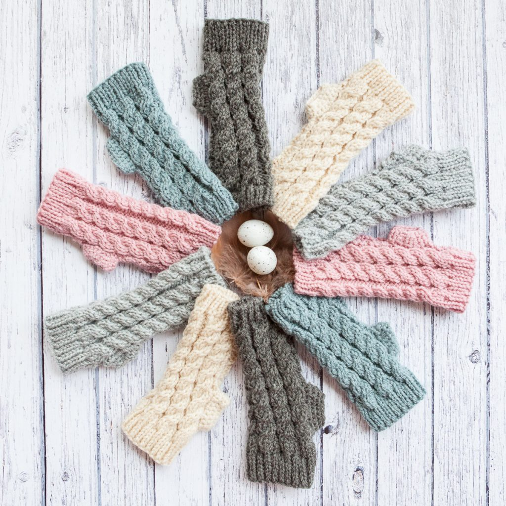 Maya Croft pastel fingerless gloves