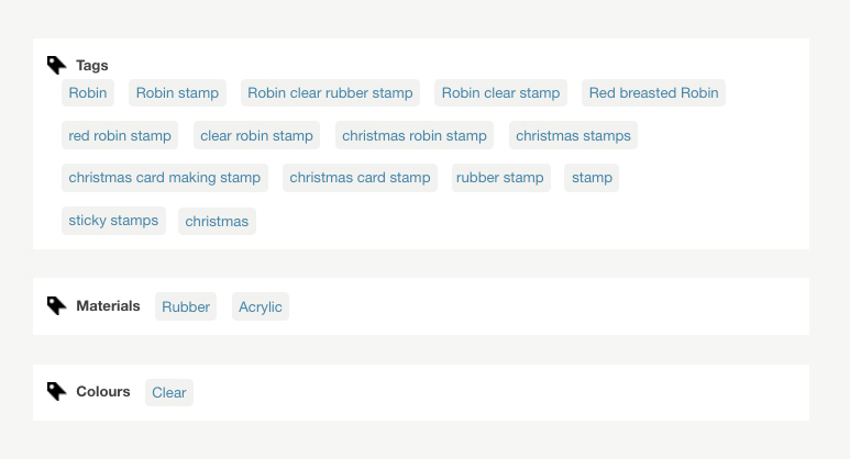 Tags on Folksy