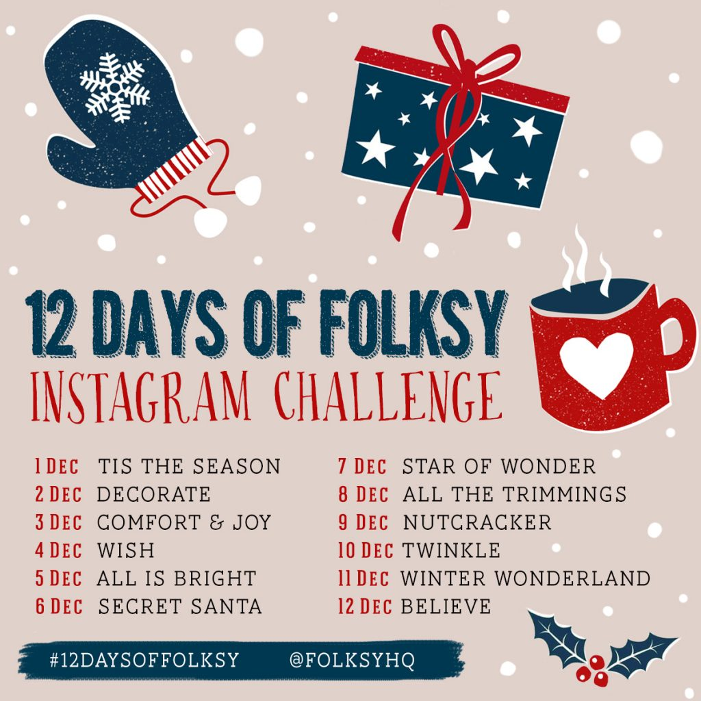 12 Days of Folksy Christmas Instagram Challenge prompts