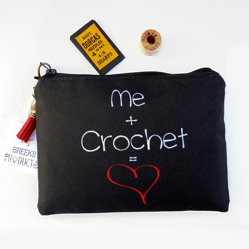me and crochet sewing pouch - gift for crafters