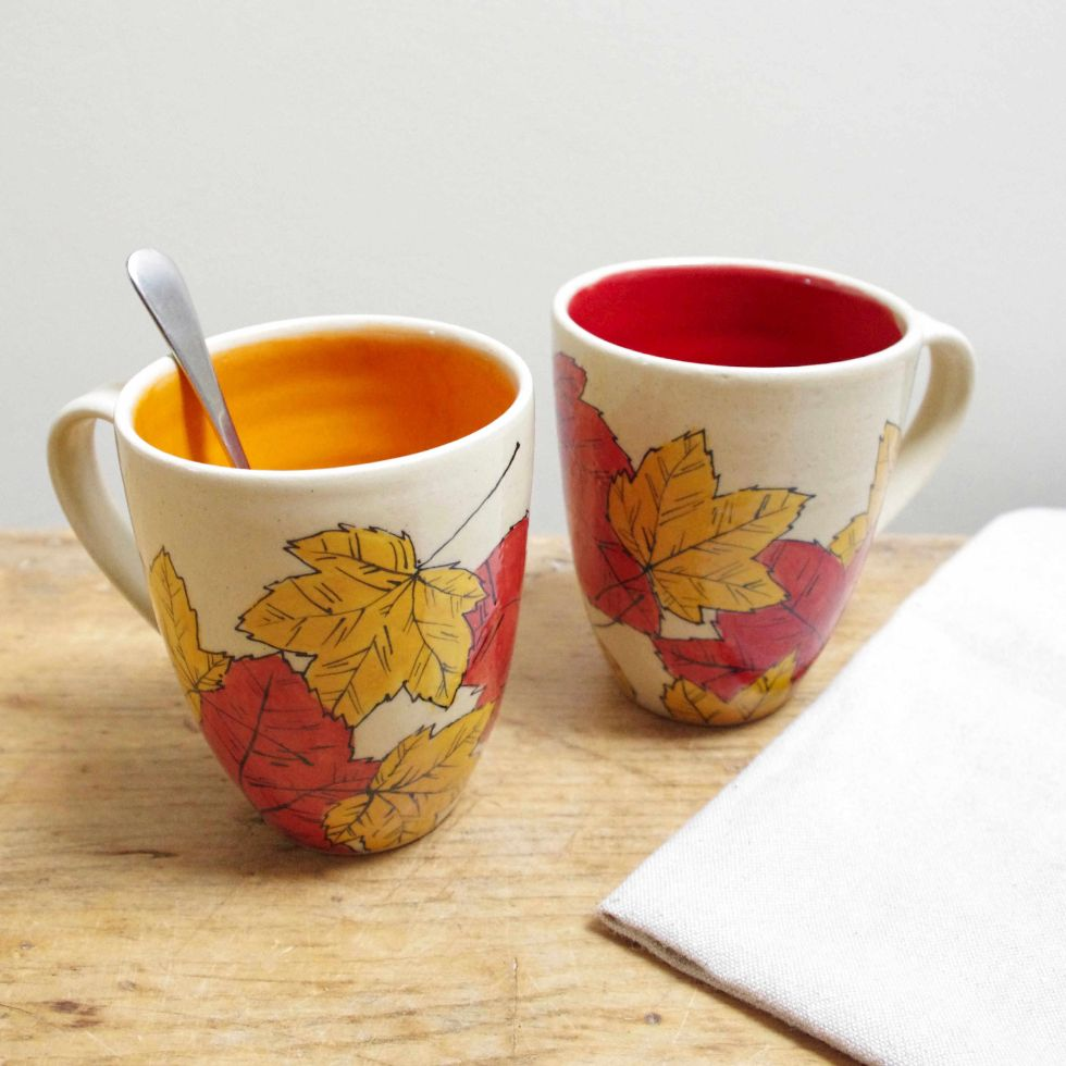 autumn leaves mugs - handmade pottery by Ink & Clay