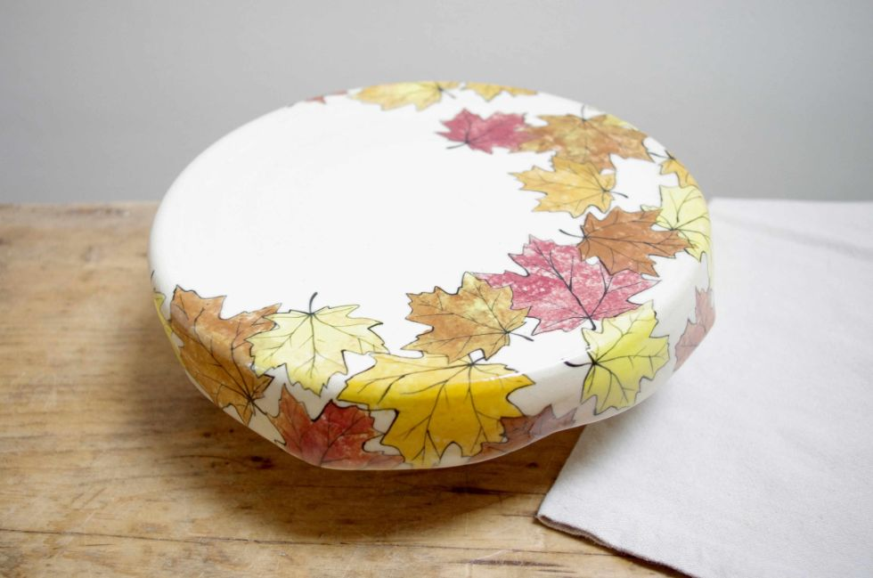 Autumn leaves cake platter - handmade pottery by Ink & Clay