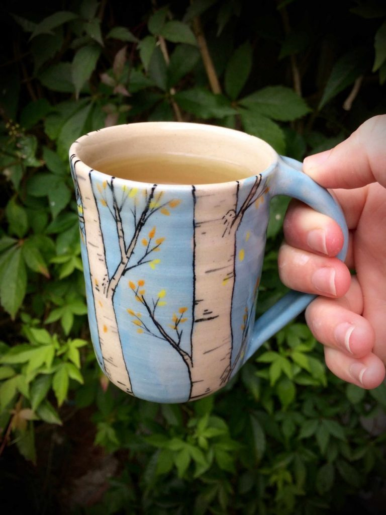 Birch tree mug - handmade pottery by Ink & Clay
