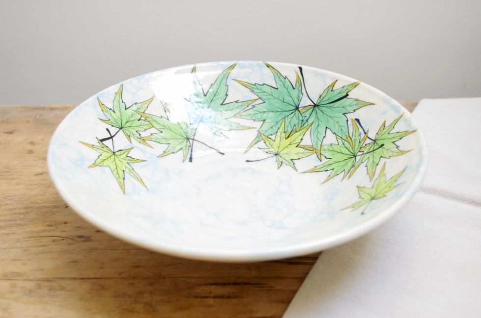 maple leaf bowl - handmade pottery by Ink & Clay