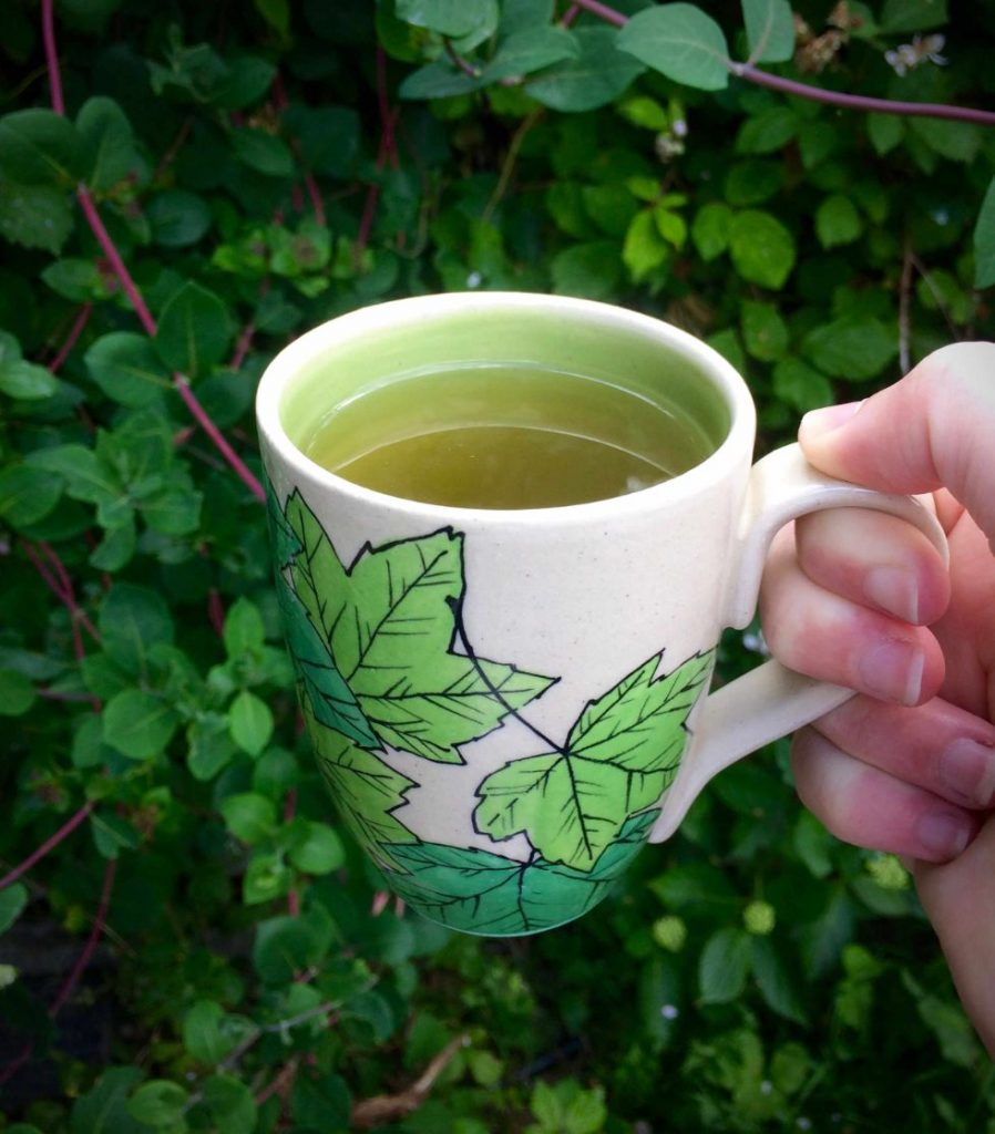 summer leaves mug - handmade pottery by Ink & Clay