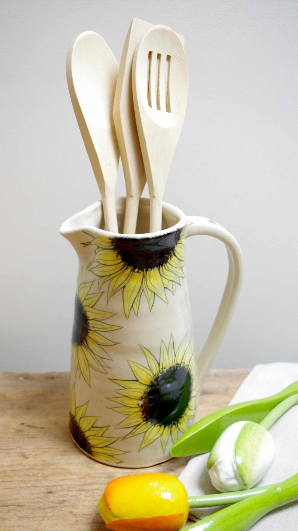 sunflower jug - handmade pottery by Ink & Clay